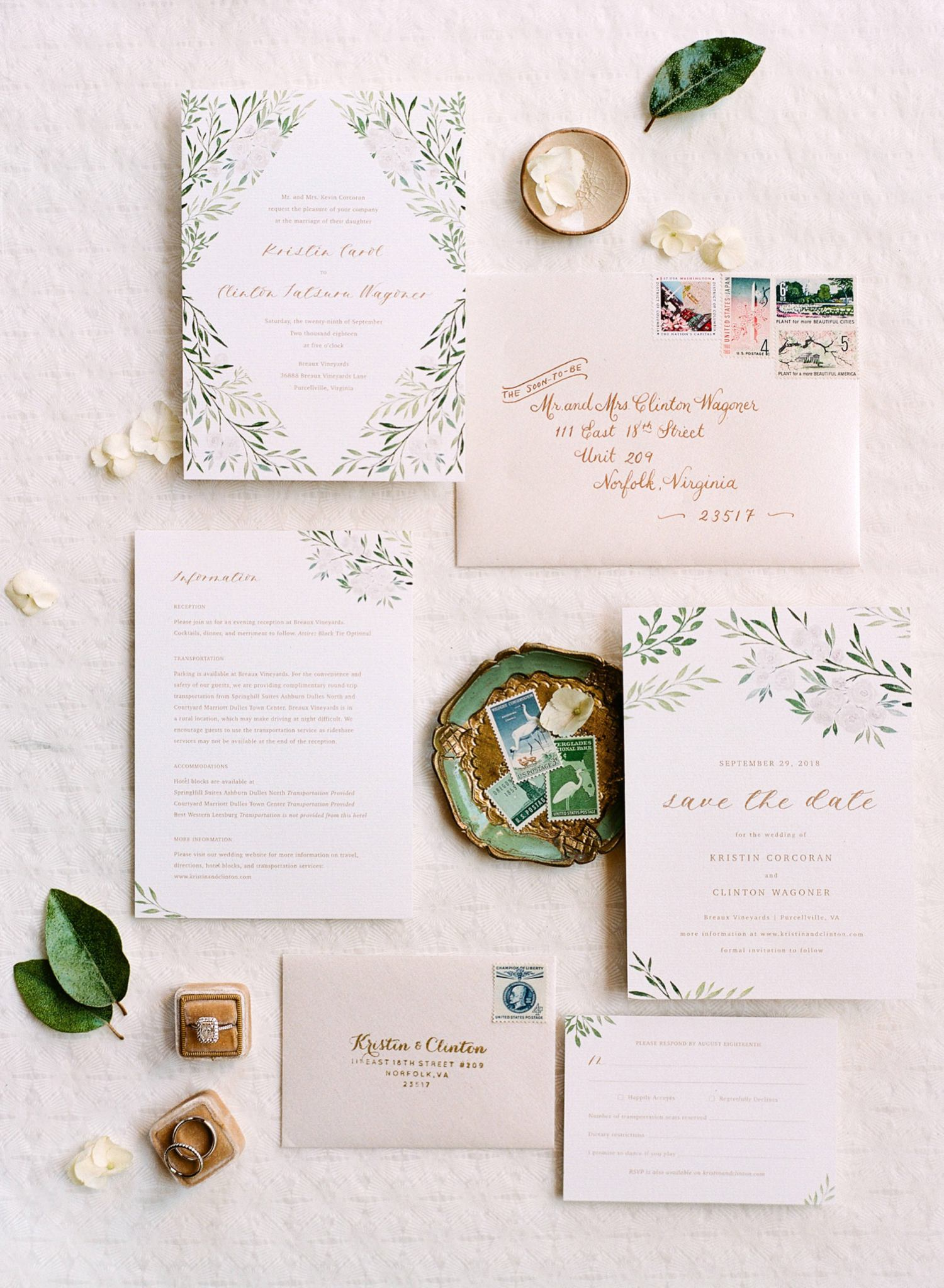 green and ivory wedding inspo stationery suite