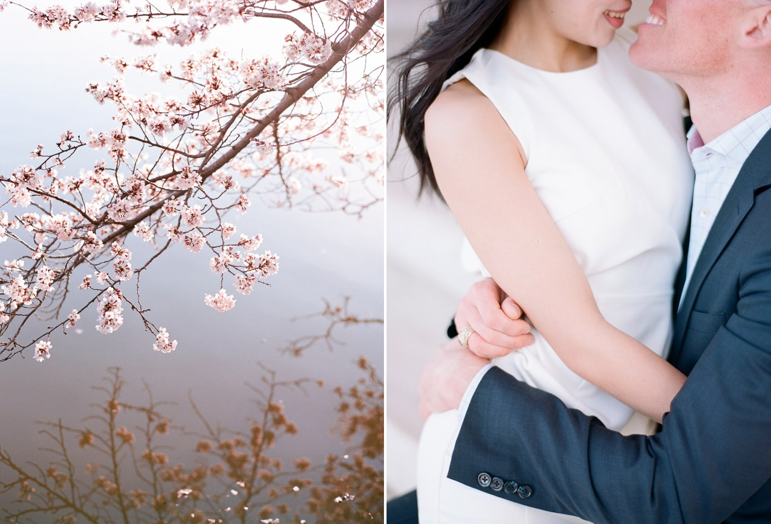 cherry blossom engagement in washington dc