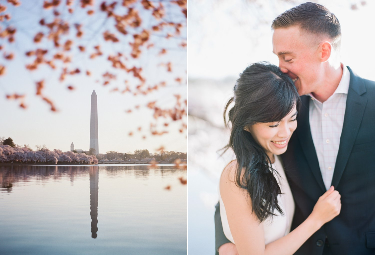 cherry blossom engagement in dc