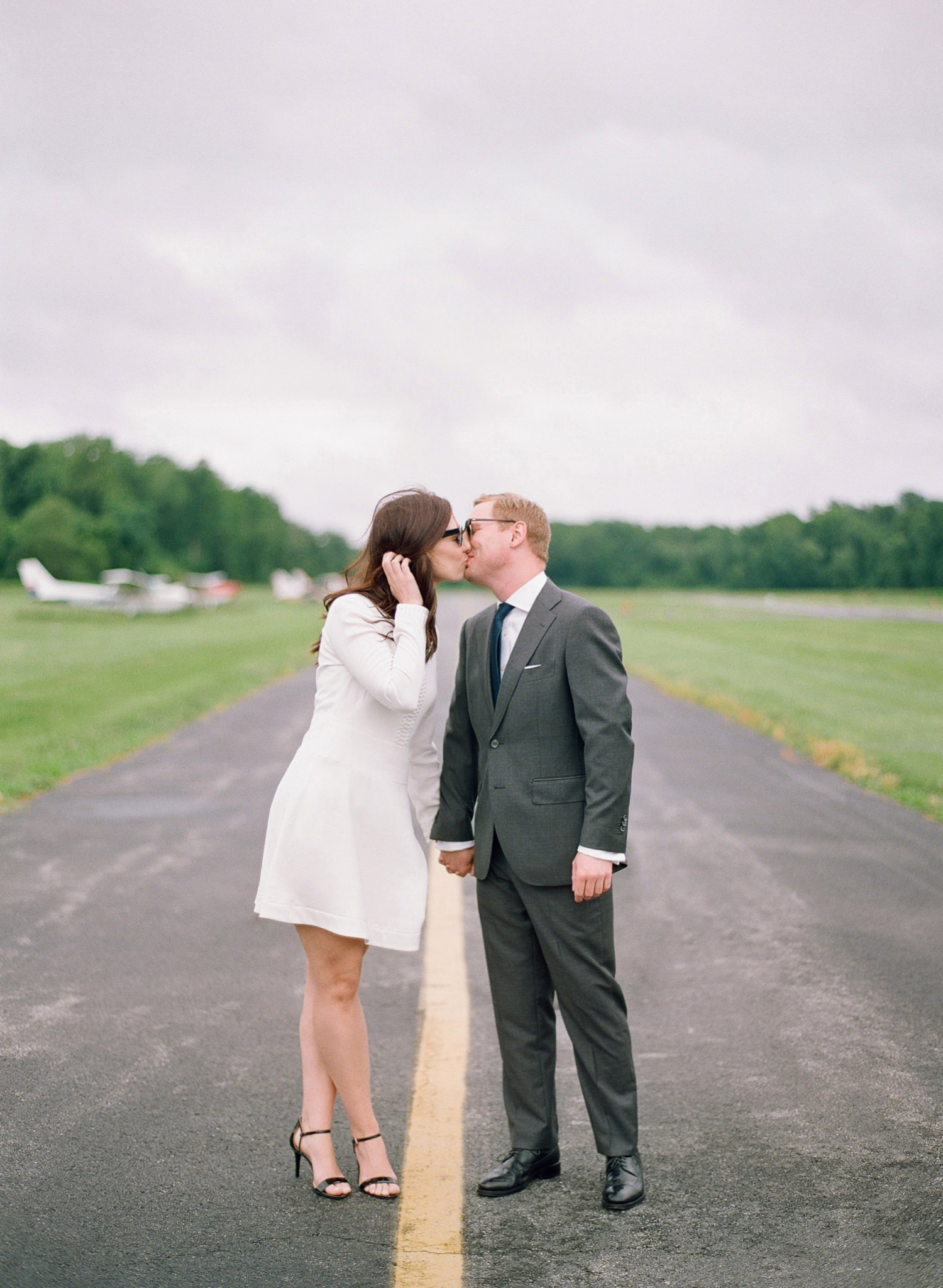 romantic airfield engagement session