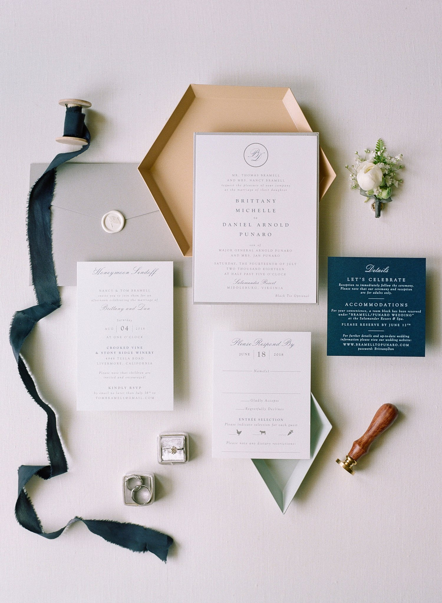 classic navy and white invitation suite