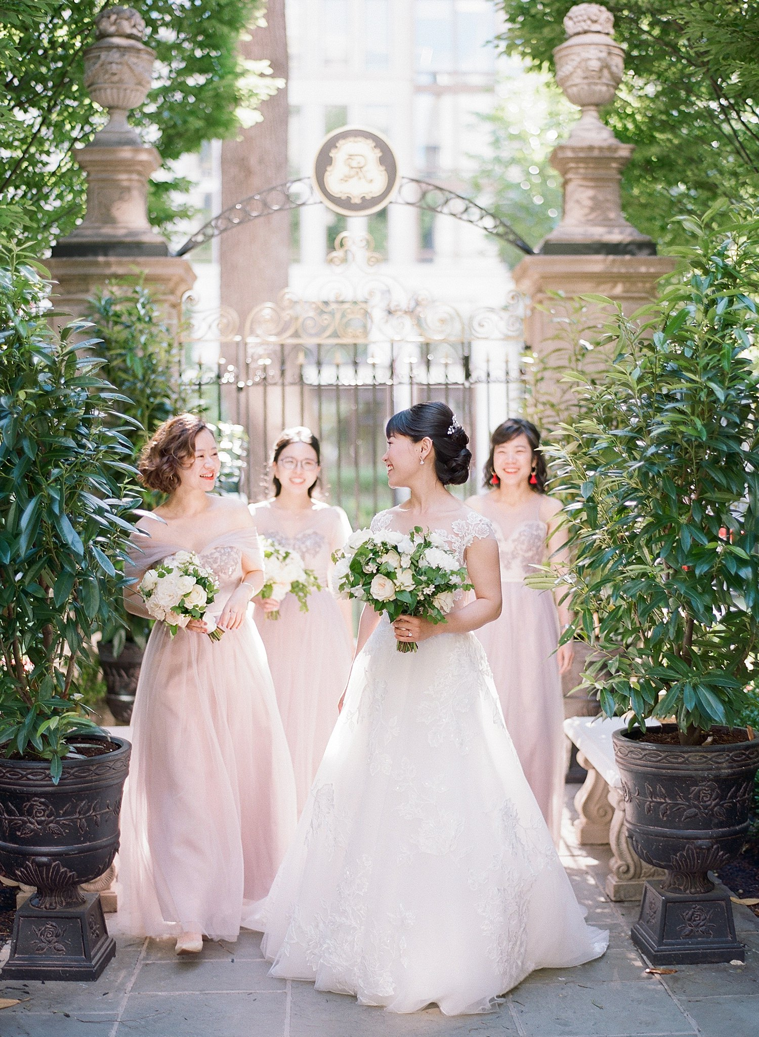 bridesmaids in blush at the St. Regis DC wedding